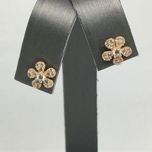 18K Yellow Gold CZ Flower Stud Earrings